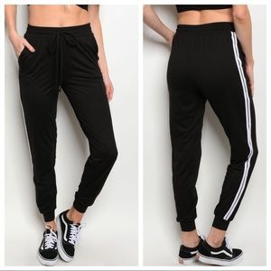 Pants - Black with white stripe joggers